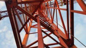 Blick in den Turm vom Baukran